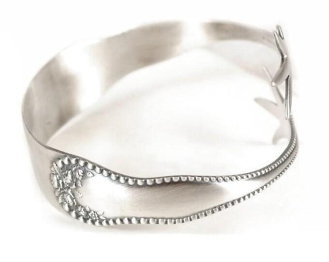 925 Lancaster Rose Claw Spoon Cuff Bracelet, Sterling Silver Bangle Bracelet, Adjustable Size 7 8 9, Gardener Gift, Antique Lover (BR-6548)