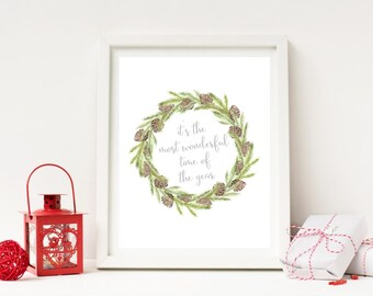 It's the Most Wonderful Time of the Year - Christmas Wreath Print