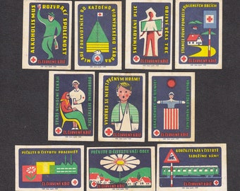 10 Vintage Matchbox Labels from 1959 Czechoslovakia - Medical, Collage, Arts and Crafts, Altered Books
