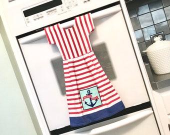 Anchors Away Dishtowel Dress, USA Hanging Kitchen Dish Towel, Nautical Tea Towel Dress in Red & White, Hostess Gift, Kitchen Decor - Klosti