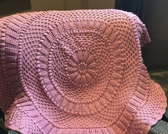 Lavender Pink Round Crocheted Baby Afghan