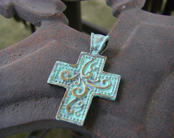 1 Cross Charm, cross pendant, patina cross, brass cross USA ships quick