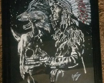 Handmade Native American painting.