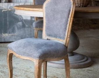 Grayline Dining Chair in Blue Fabric and Gray Hand Painted Elm Wood Pair