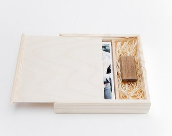 """Wooden box photos 4x6"""" and usb flash drive handmade packing"""