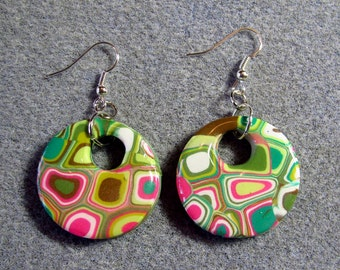 Polymer Clay Resin Klimt Retro 60s Green Pink Mod Circle Earrings K11