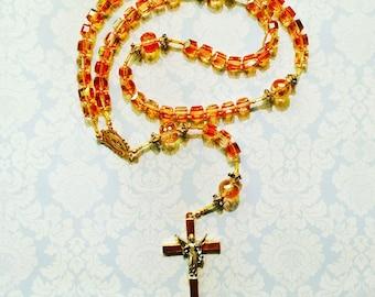 Priced Reduced! Topaz rosary, catholic rosary, rosaries