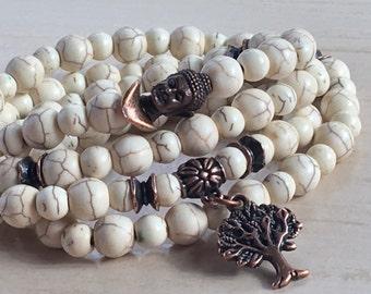 Mala Gemstone Yoga, Mothers Day Gift, Buddhist Howlite 108, Tree of Life Buddha, Mantra Jewelry 108, Zen Protection Bead, Mala Yoga Necklace