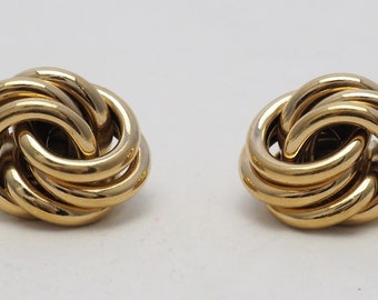 Vintage Givenchy Paris New York large gold tone knot  clip on earrings