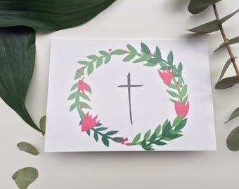 Floral Christening Card, Whimsical christening card, pretty baptism card