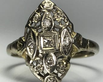 Vintage Diamond Shield Ring. 14K Gold. Art Nouveau Filigree. Unique Engagement Ring. April Birthstone. 10 Year Anniversary. Estate Jewelry.