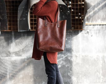 Leather Tote, Brown Leather Tote, Large Leather Bag, Large Tote Bag, Shoulder Bag Leather, Leather Women Bag, Leather Handbag, Shopper Bag