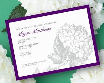 Bridal Shower Invitation Template, Floral Bridal Shower Invitation Printable, Bridal Shower Invite, PDF Instant Download - Hydrangea Flowers
