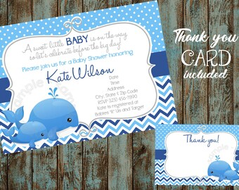 Printable Whale Invitation, Whale Baby Shower Invitation, Whale Baby, Whale Printable Invitation, Whale Baby Shower, Blue Whale Baby Shower