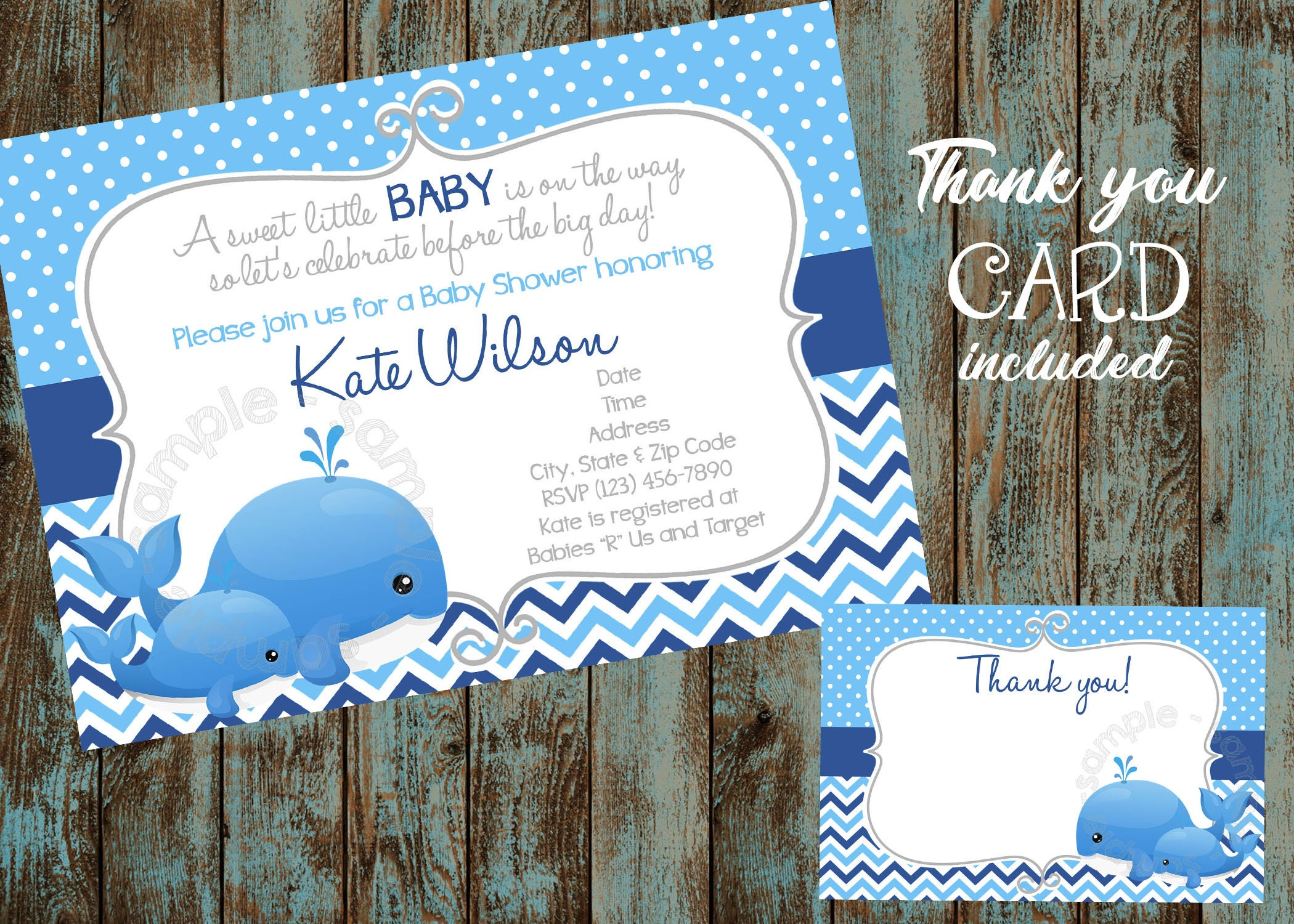 Printable Whale Invitation Whale Baby Shower Invitation