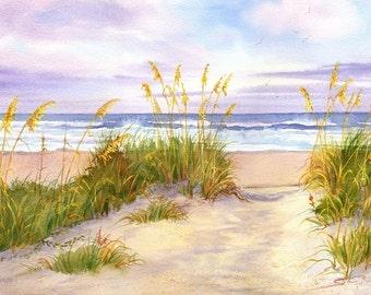 Golden Moment- Coastal Beach Decor- Beach Print- Sea Oats Beach House Decor