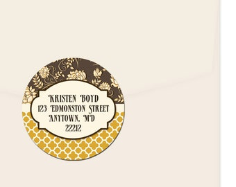 Personalized Address Labels / Deco Floral Pattern Stickers / Return Address Label / Flowers / Envelope Seals / Wedding Labels