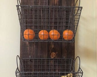 Custom Wall Decor Wall Hanging Reclaimed Real Wood Stained Fruit Vegetable Basket Holder Rack Kitchen Farmers Market