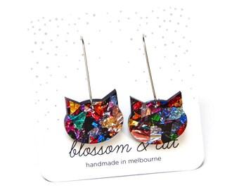Galaxy Cat Wire Drop Earring · Cat Earring · Galaxy Cat · Colourful Cat Earring · Multicolour Cat Earring · Kalaidoscope Cat
