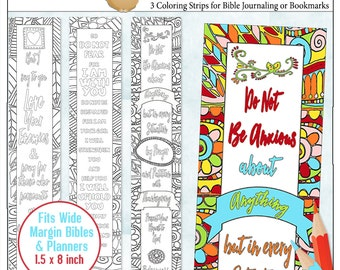 2.00 SALE!  Printable Coloring Bible Journaling Margin Strips Zentangle for Wide Bible Margins or Planner Sticker Decoration, or Bookmarks