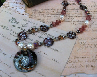 Glass Sea Anemone Necklace with glass pearls, crystal, mother of pearl beads