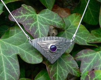 Amethyst Textured, layered Necklet / Necklace