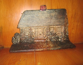 Genuine Antique Vintage Cast Iron Doorstop Log Cabin Cottage House - Marked 124 ALBANY FDY CO - Original Paint
