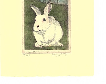 White Bunny / etching