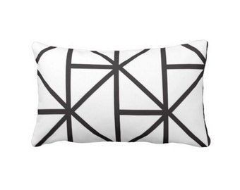"Geometric Lumbar Throw Pillow, 14 x 20"" OUTDOOR or INDOOR Modern Black & White Print Pillows/Covers, Geo Lines/Stripes/Lattice/Diamonds"
