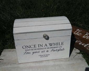 Wedding Card Box, Rustic Card Box, Personalized Rustic Treasure Chest, Card Holder, Card Box, Bridal Shower Gift.