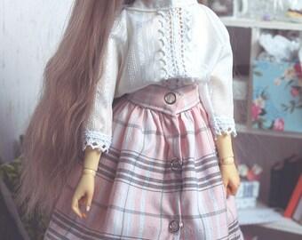 BJD Pink Ruffle Skirt