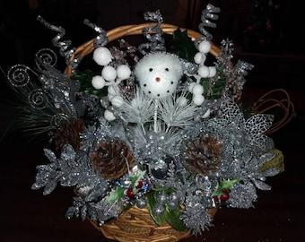 Silver Snowman Wall Basket