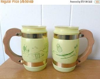 MEMORIAL DAY SALE vintage yellow green tropical Siesta Ware mugs