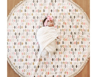 Round baby play mat organic cotton leaf print Deer and Dot Baby Roundies Round Rug Tummy Time Nursery Baby Blanket Blanky Flatlay Play Rug