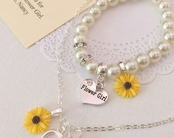 Sunflower, sun flower, NECKLACE and BRACELET set, kids, flower girl, flowergirl. Comes with jewelry box and card.