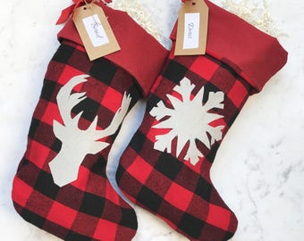 Rustic Christmas Stocking Set ~ Decorated - Personalized