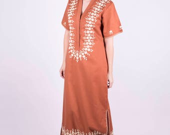 70s Dress Embroidered Dress Maxi Dress Boho Dress Brown Dress Long Dress Bohemian Dress Hippie Dress Retro Dress Folk Dress Sz: S