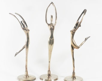 Mid Century Vintage Brass Ballerina Figurines - Set of Three