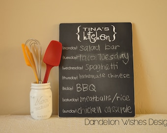 Personalized 11x14 Menu Chalkboard Sign, Family Kitchen Menu, Restaurant or Cafe Menu, Gifts For the Cook