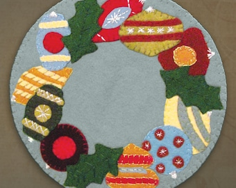 PATTERN - Vintage Christmas Ornaments Wool Applique' Candle Mat