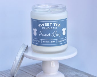 SWEET BABY CANDLE by Sweet Tea Candle Co. | 8 oz. | Frosted Jar | Lavender + Chamomile | 100% Soy | Hand Poured | Baby Shower | Announcement