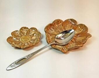 Ring Tray Set, birthday gift, Teabag Holder Teaspoon Rest, ring dish Handmade Flower Set of 2 Flowers, Gift for Her, ceramic flower plate