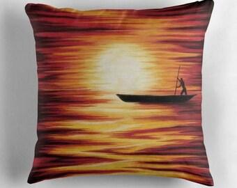 Cover seaside landscape - African canoe decor sofa - warm colors - art print digital painting - square cushion