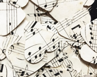 200 vintage music sheet hearts  cut from an 1840's music book , Confetti, party, wedding.
