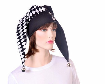 Traditional Harlequin Hat in Black and White with Diamond Print Motley Fool Cap Court Jester Hat Mardi Gras Carnival
