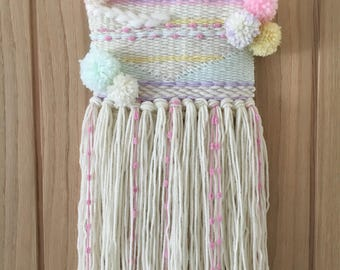 Custom pompom weave, Medium weaved wall hanging, Yarn Wall hanging, Pastel wall art, Baby shower gift, New baby gift, Nursery wall art