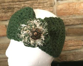 Green headband, ladies headband, crochet headband