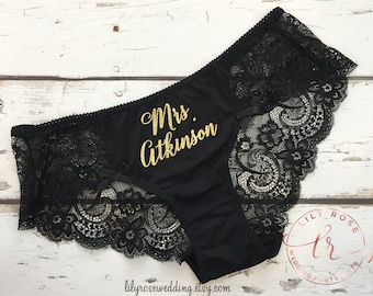 Personalized Lingerie, Bride Panty, Bridal Shower Gift, Panties, Personalized Panties Underwear, Honeymoon, Bachelorette Gift, Bride Gift