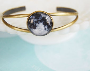 To the moon and back-  Photo realistic moon bangle bracelet- adjustable antiqued brass- lunar- goddess