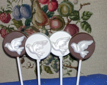 Chocolate Dove Lollipops for weddings baptism confirmation